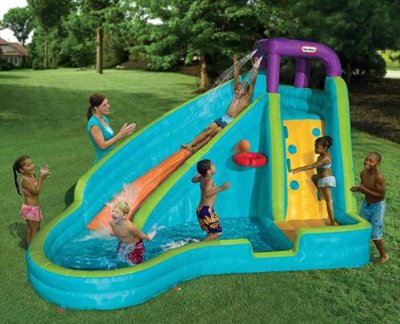 Slam And Curve Slide Your Kids Inflatable Backyard Pool