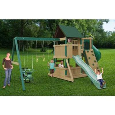 Outdoor Play Set And Swing Set Wave Slide Tunnel Slide And Rock