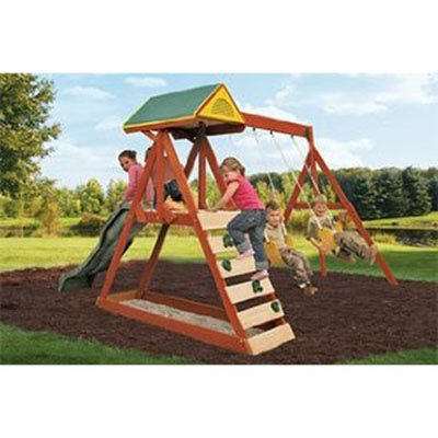 Parkside Wood Swing Set The Space Saving Swing Set For Kids