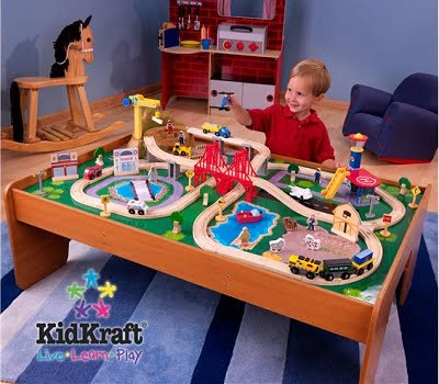 Ride around town train set with table compatible with for 100 piece cityscape train set and wooden activity table