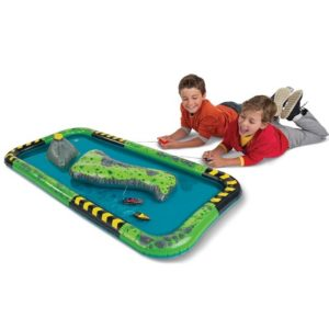 The RC Speedboat Water Raceway - Allows kids to steer their own remote-controlled speedboat around an aquatic circuit