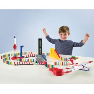 The Truck Dispensed Domino Stunt Set - includes a vehicle that automatically helps set up the dominos