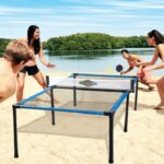 The Beach Tennis Table Set - A lightweight tennis table set made from a nylon mesh trampoline