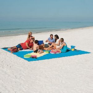 The Only Six-Person Sandless Beach Mat - A beach mat that is impossible to cover with sand