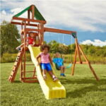 Scrambler Wood Complete Play Set - A value-packed and space-saving solution backyard playground set for kids