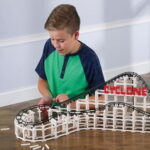 The Build A Brick Roller Coaster - An interlocking brick set that forms a working 4'-long roller coaster