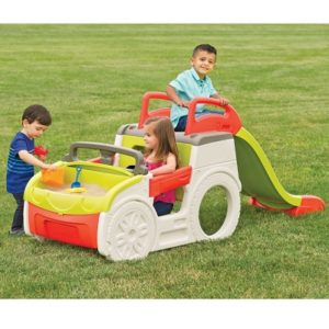 The Jalopy Jungle Gym - A uniquely designed activity car for kids with sandbox and slide