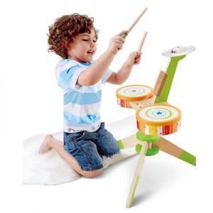 The Beginning Drummer's Playset - A wooden drum kit that encourages budding rock-and-roll stars to keep the beat