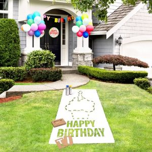 The Birthday Lawn Stencil Kit - An outdoor paint and stencil kit that celebrates a birthday with a unique message painted safely on grass