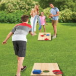 The Foldaway Bag Toss Game - A  wooden bag toss game that folds to less than of its setup size for compact storage and convenient portability