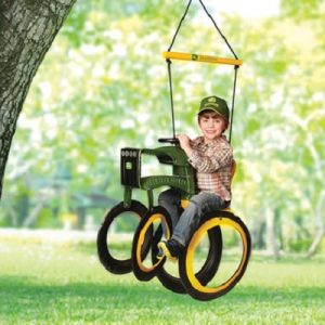 The John Deere Tractor Swing - The perfect outdoor swing for kids crafted using re-purposed tires and rust-resistant hardware