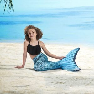 The Mermaid Converter - a neoprene swim fin and fabric tail set that helps a child embrace her inner mermaid