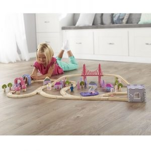 The 75 Piece Fairy Town Train Set - A wooden train set that encompasses a town populated by fairies