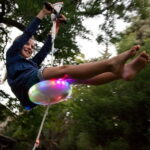 The Day And Night Backyard Zipline - You kids 100 feet zipline with built-in LEDs for nighttime ride