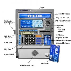 The Talking Children's ATM Bank - helps children learn addition, subtraction and money management