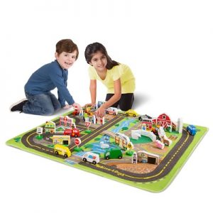 The Bustling Town Peaceful Countryside Play Set - A washable activity rug that forms a complete urban and rural play set