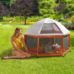 The Instant Sun Protecting Playpen - pops up in two seconds to provide protection from the sun for a child