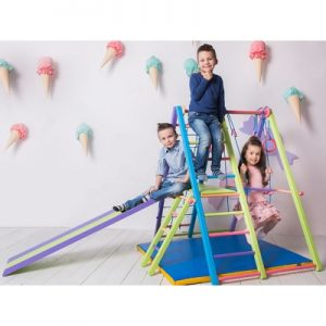 The Foldaway Indoor Jungle Gym - Lets children climb, slide, and swing indoors