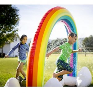 The Inflatable Rainbow Arch Sprinkler - perfect for kids who wants to cool off from the summer sun